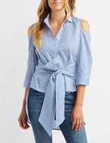 Charlotte Russe Striped Cold Shoulder Button-Up Top