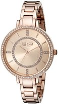 SO&CO New York Women's 5066.4 SoHo Quartz Crystal Accent 16K Rose Tone Link Bracelet Watch