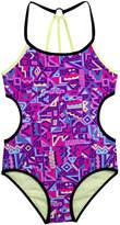 Big Chill Purple Geometric Cutout One-Piece - Girls