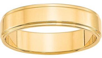 Primal Gold 10 Karat Yellow Gold 5mm Flat with Step Edge Band Size 6.5