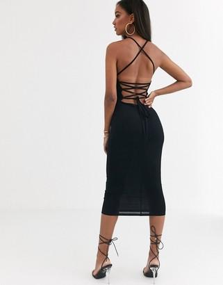 Asos Design DESIGN going out strappy back midi dress in black