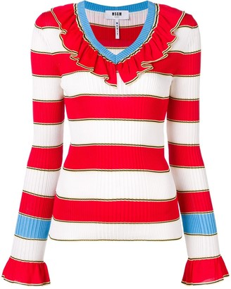 MSGM Striped Knitted Top