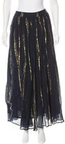 Mes Demoiselles Metallic-Trimmed Midi Skirt w/ Tags