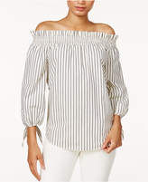 Kensie Cotton Poplin Printed Off-The-Shoulder Top