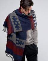 Asos Geo-Tribal Blanket Scarf In Burgundy And Navy