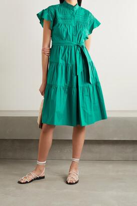 Diane von Furstenberg - Ebba Belted Pleated Tiered Cotton-poplin Dress - Green