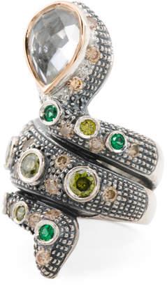 Handmade In Portugal 14k Sterling Silver Kunzite Snake Ring