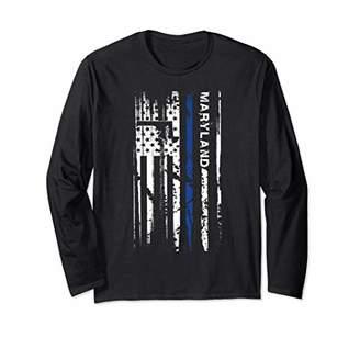 Maryland Cop Thin Line LEO Police American Flag Long Sleeve T-Shirt