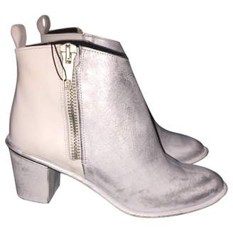 Miista \N Silver Leather Ankle boots
