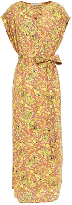 Vanessa Bruno Belted Gathered Floral-print Crepe Midi Dress