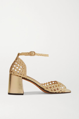 Souliers Martinez Procida Woven Metallic Leather Sandals - Gold