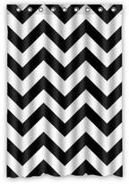 "Chevron Shower Curtain Waterproof Bathroom Fabric Shower Curtain, Black and White Chevron Pattern Print Design 48"" x 72"""