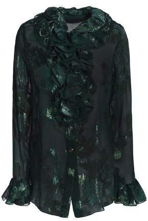 Anna Sui Ruffle-Trimmed Metallic Silk-Blend Fil Coupé Shirt