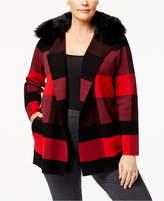 Belldini Plus Size Faux-Fur-Trim Plaid Cardigan