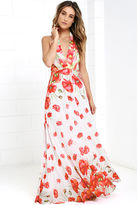 LuLu*s Poppy Song Ivory Floral Print Halter Maxi Dress