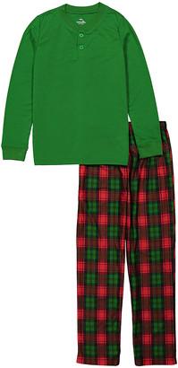 Candlesticks Boys' Sleep Bottoms Green - B 2PC HENLEY PLAID PJ SET GRN - Toddler & Boys