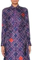 Bottega Veneta Long-Sleeve Button-Front Irregular-Check Print Silk Shirt