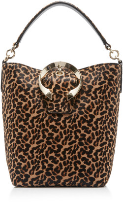 Jimmy Choo Madeline Leopard-Print Pony Hair Bucket Bag