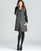 Coat - Houndstooth Faux Leather Sleeves