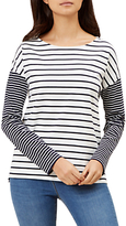 Hobbs Winter Striped Long Sleeve Top, Navy/Ivory