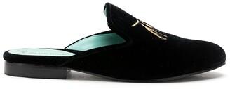 Blue Bird Shoes Tassel Embroidered Velvet Slippers