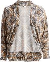 Glam Beige Abstract Shawl-Collar Round-Hem Open Cardigan - Plus