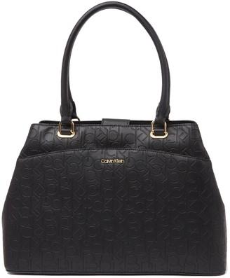Calvin Klein Hudson Tonal Embossed Leather Logo Tote
