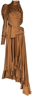 Zimmermann Draped Satin Cutout Dress