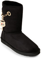 Love Moschino Black Chain-Detail Faux Sheepskin Boots
