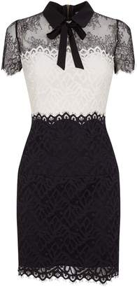 Sandro Two-Tone Lace Bow Dress