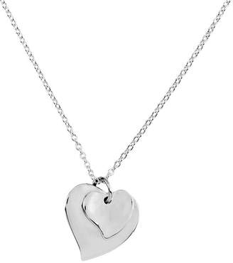 """Sterling 14"""" Polished Double Heart Solid Pendant and Necklace"""