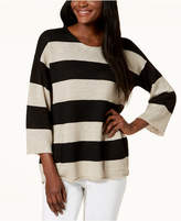 Eileen Fisher Striped Organic Linen Pocket Sweater, Regular & Petite