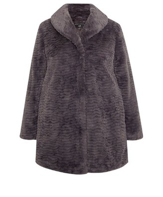 Dorothy Perkins Womens **Dp Curve Grey Long Line Faux Fur Coat, Grey