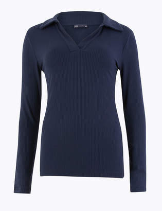 Marks and Spencer Ribbed Fitted Polo Top