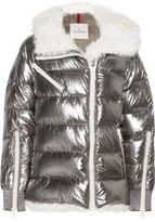 Moncler Lirio Shearling-trimmed Metallic Coated Cotton Down Coat - Silver
