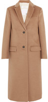 Valentino Stud-embellished Camel Hair Coat - Tan