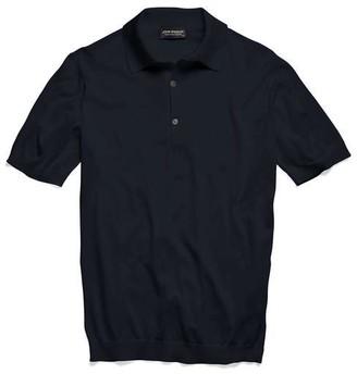 John Smedley Adrian Short Sleeve Polo Sweater in Navy