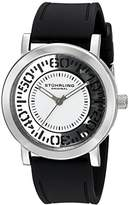 Stuhrling Original Women's Quartz Watch with White Dial Analogue Display and Black Silicone Strap 830.01