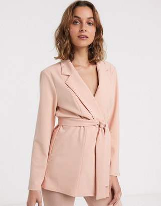 ASOS DESIGN jersey wrap suit blazer in blush