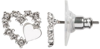 Lauren Conrad Simulated Crystal Heart Nickel Free Button Earrings