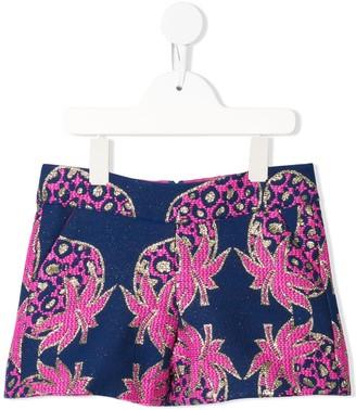 Charabia Metallic Strawberry Print Shorts