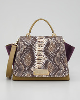 Z Spoke Zac Posen Eartha Python-Print Colorblock Satchel, Royale/Willow