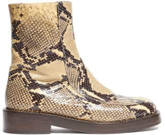 Marni Python-effect Leather Boots - Womens - Black Beige