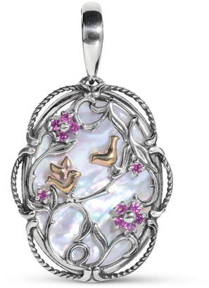 Mother of Pearl Carolyn Pollack 22x30mm) and Rhodolite Garnet Two-Tone Bird Pendant Enhancer