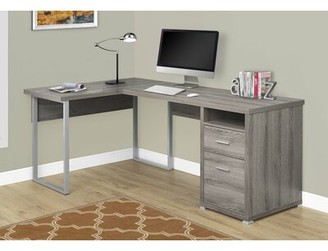 Latitude Run Darcio 2 Drawer L-Shape Corner Desk Color: Dark Taupe/Chrome