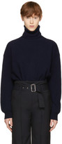Stella McCartney Navy Cashmere Ribbed Turtleneck