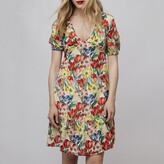 Compania Fantastica Floral Print Short Dress with Puff Sleeves
