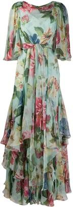 Dolce & Gabbana Floral Print Draped Neck Dress