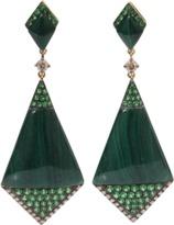 WENDY YUE Malachite Shield Earrings