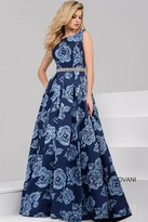 Jovani Floral Long Dress with Pleated Skirt 49217